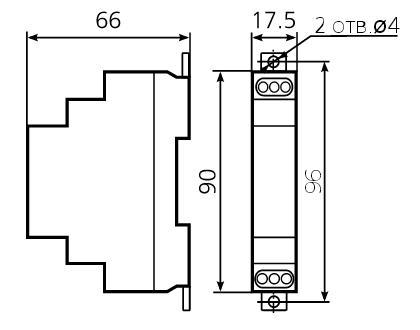 Габаритные размеры реле ВЛ-46