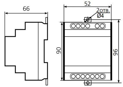 Габаритные размеры реле ВЛ-57М